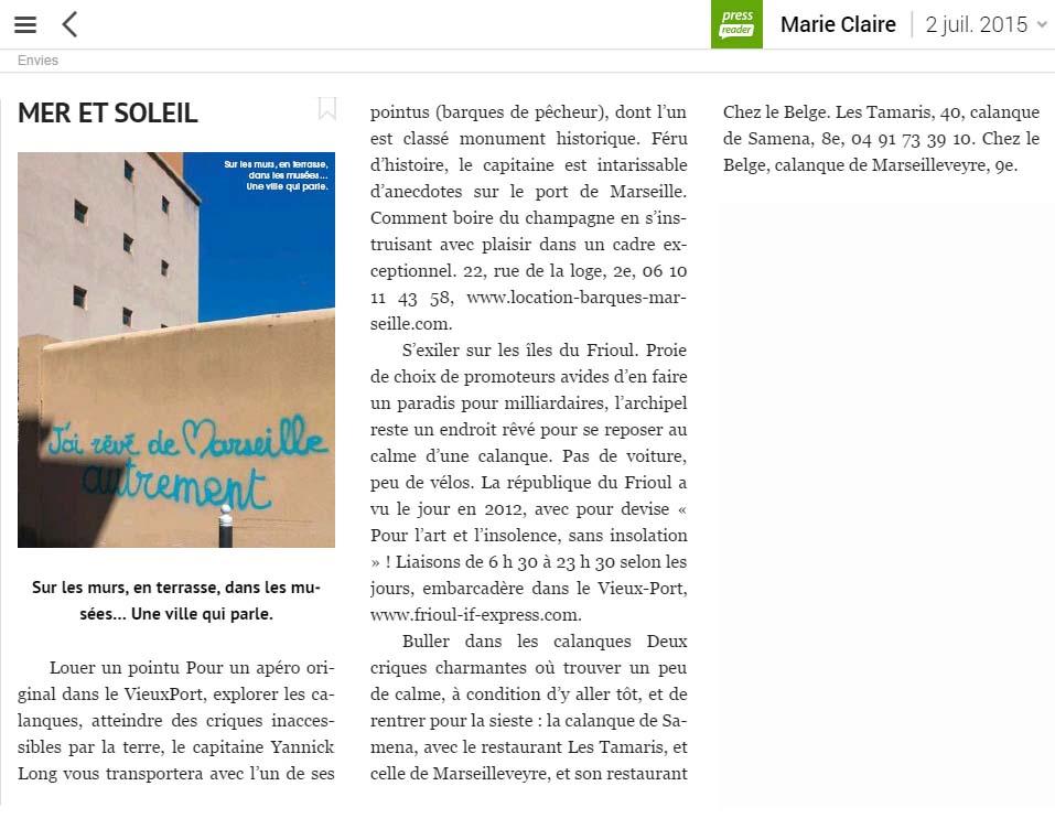 article de Marie-Claire sur Marseille